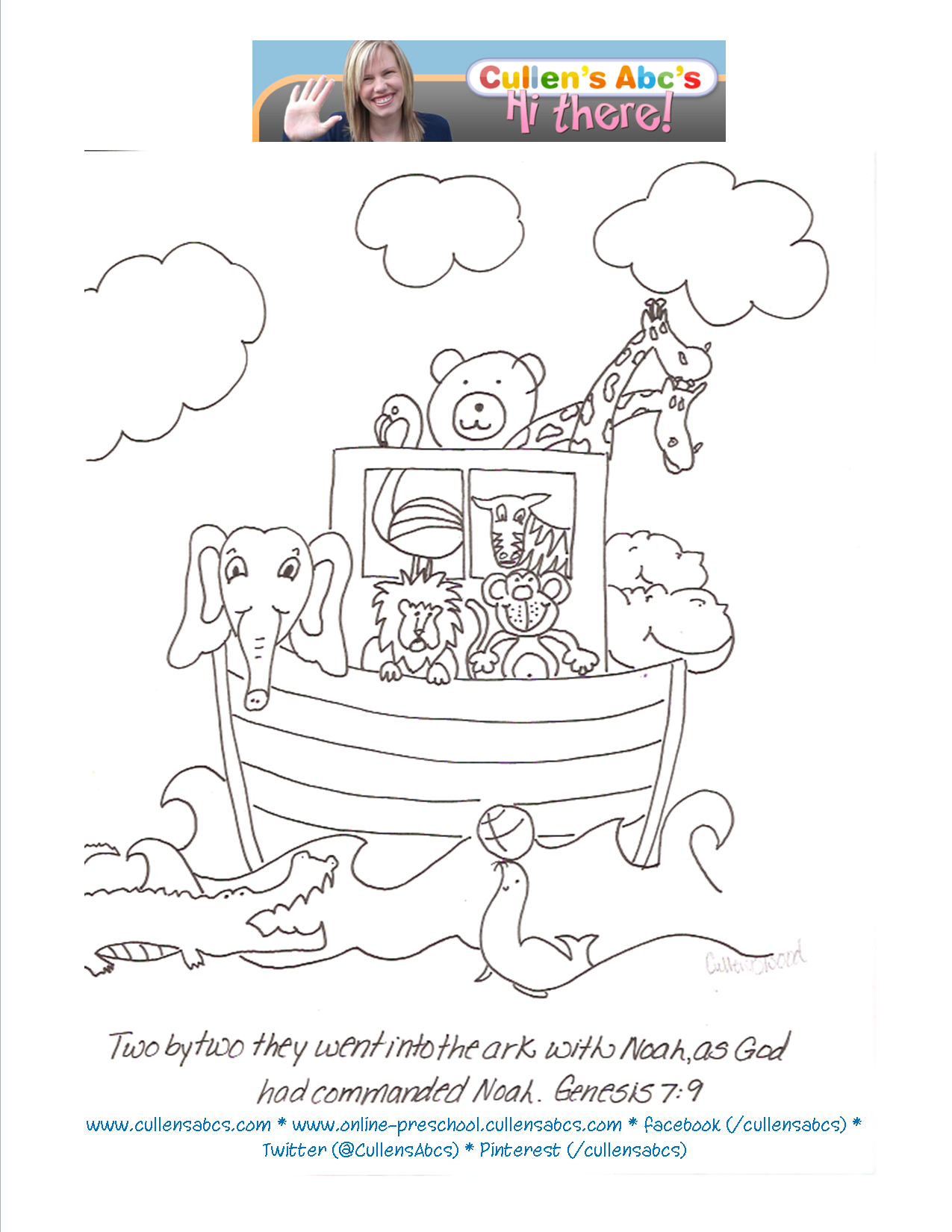 Free Coloring Pages Of Noah Ark Children