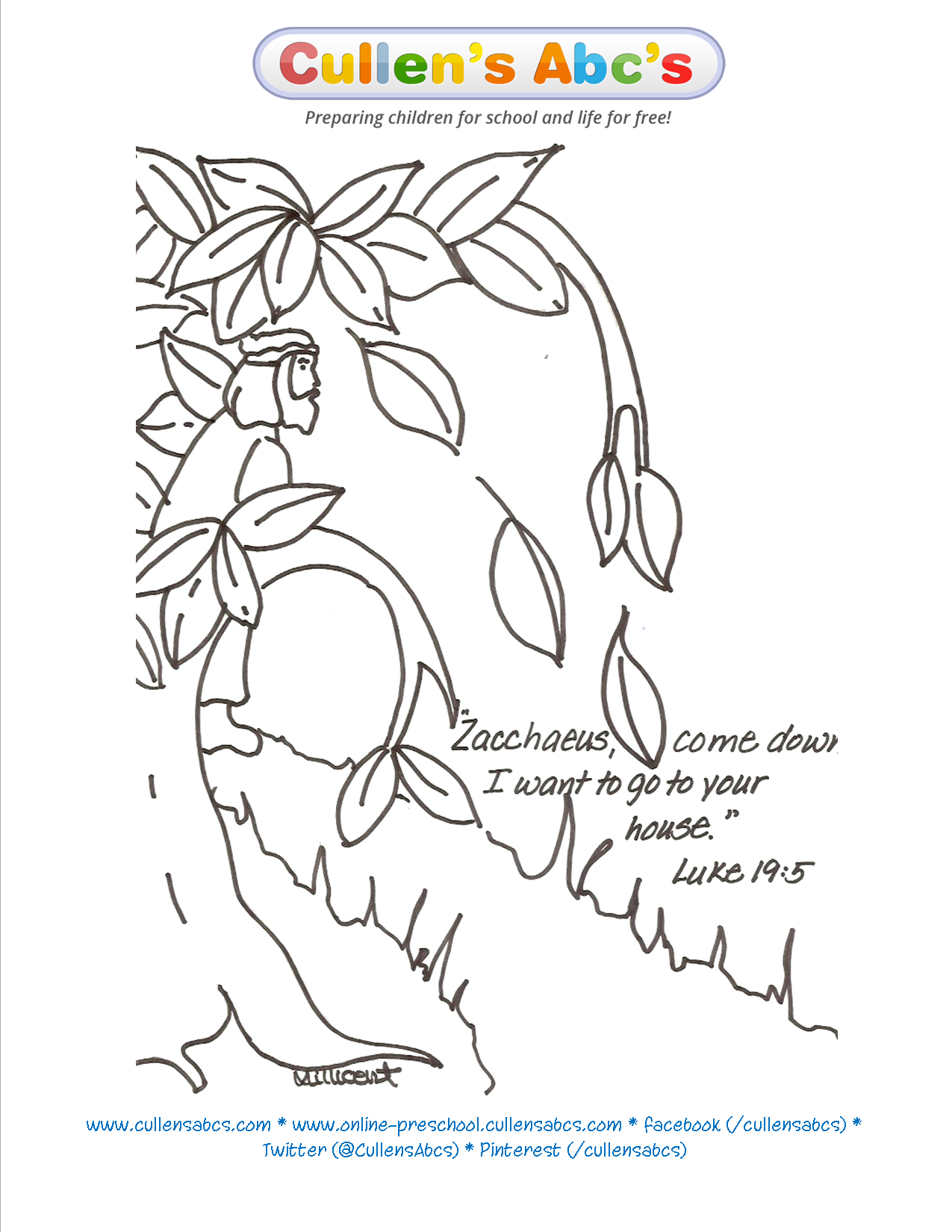 zacchaeus bible memory verse coloring page online preschool and