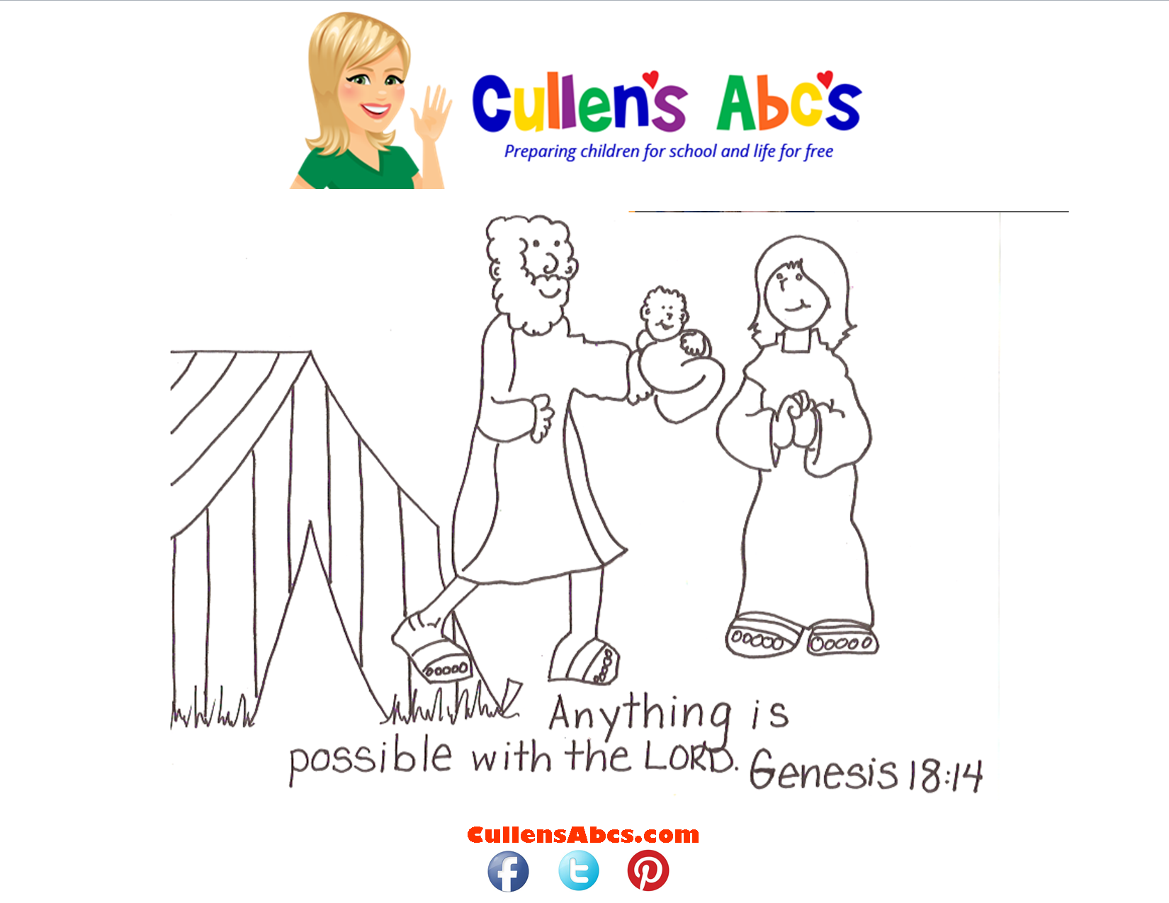 Bible Key Point Coloring Page Abraham Sarah Online Preschool