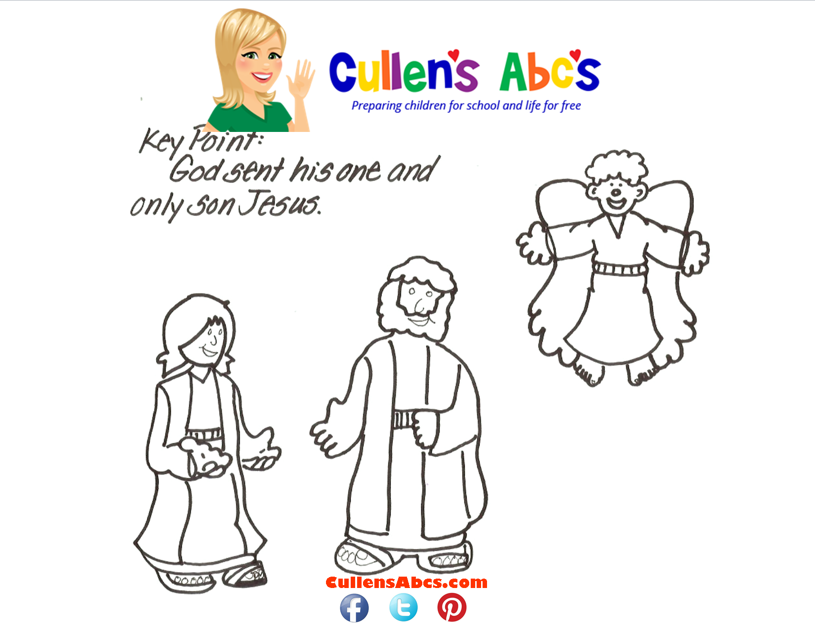Bible Key Point Coloring Page - Angels Telling the Good News