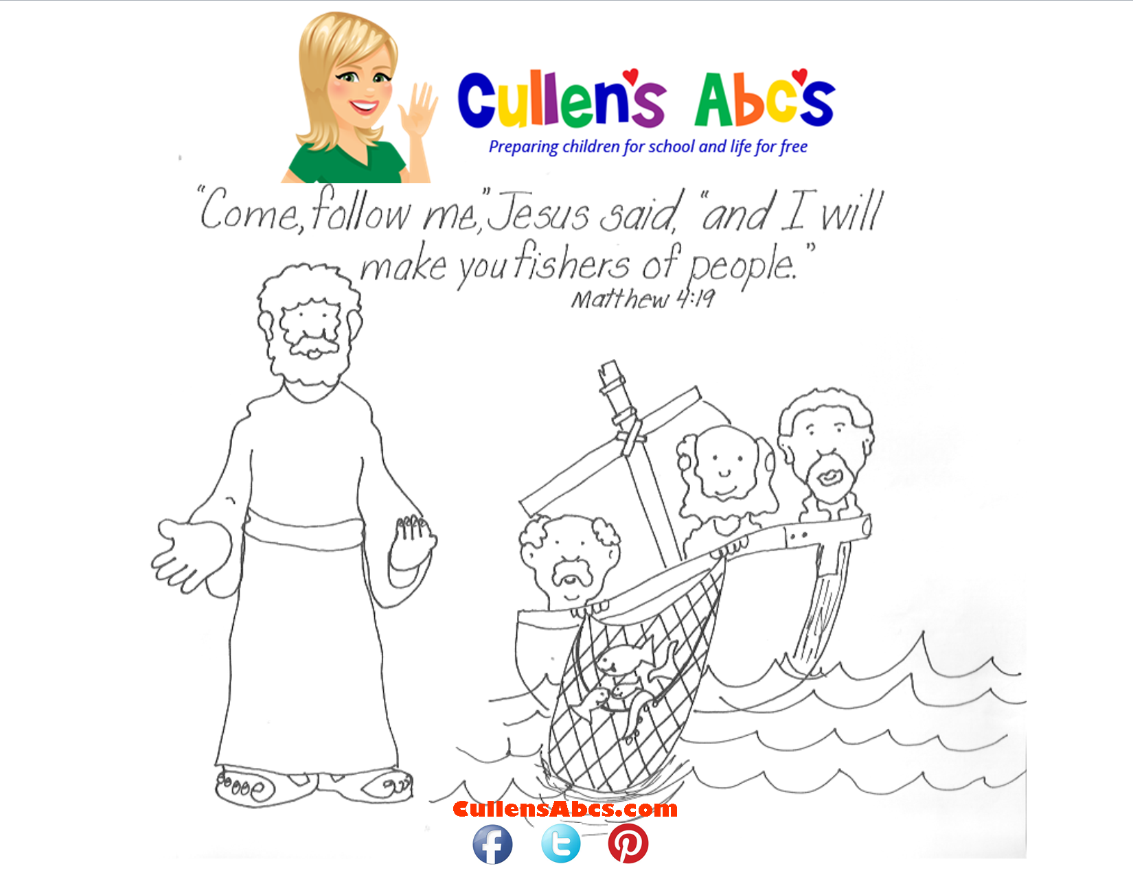 Bible Key Point Coloring Page  Jesus Chooses His Disciples