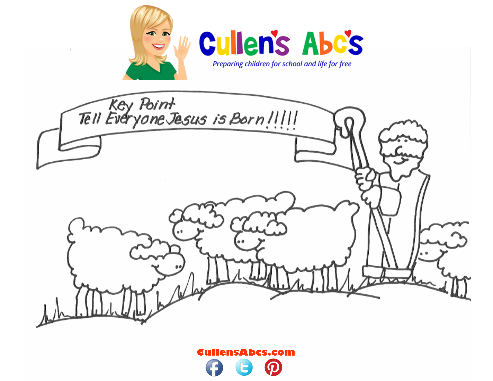 Bible Key Point Coloring Page-Tell Everyone Jesus is Born