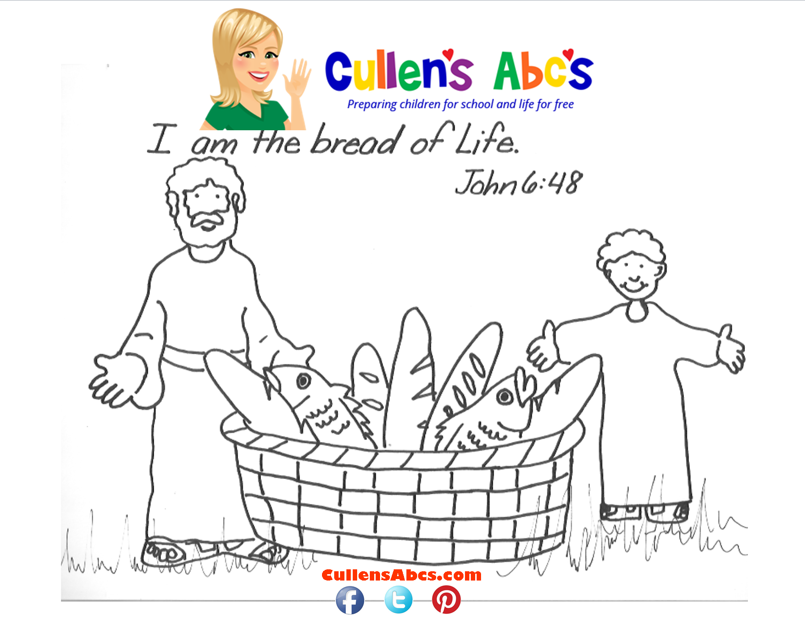 Bible Key Point Coloring Page The Bread of Life