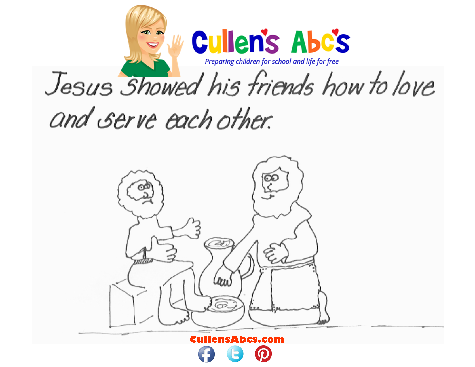 Bible Key Point Coloring Page Jesus Washes Disciples Feet John