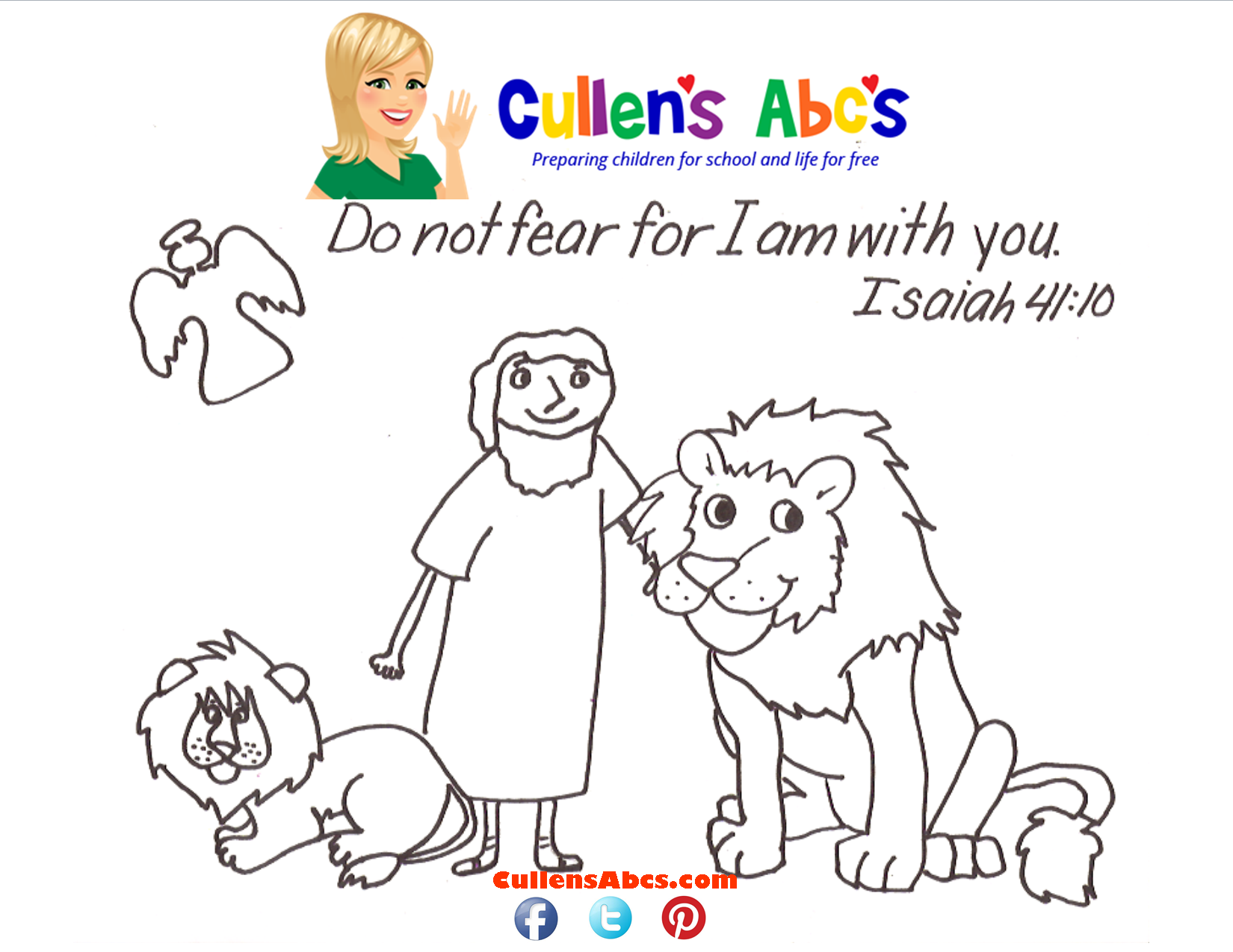 Daniel In The Lions Den Bible Memory Verse Page