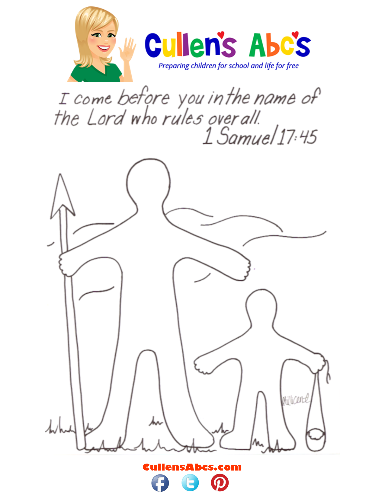 David and Goliath Bible Memory Verse Coloring Page