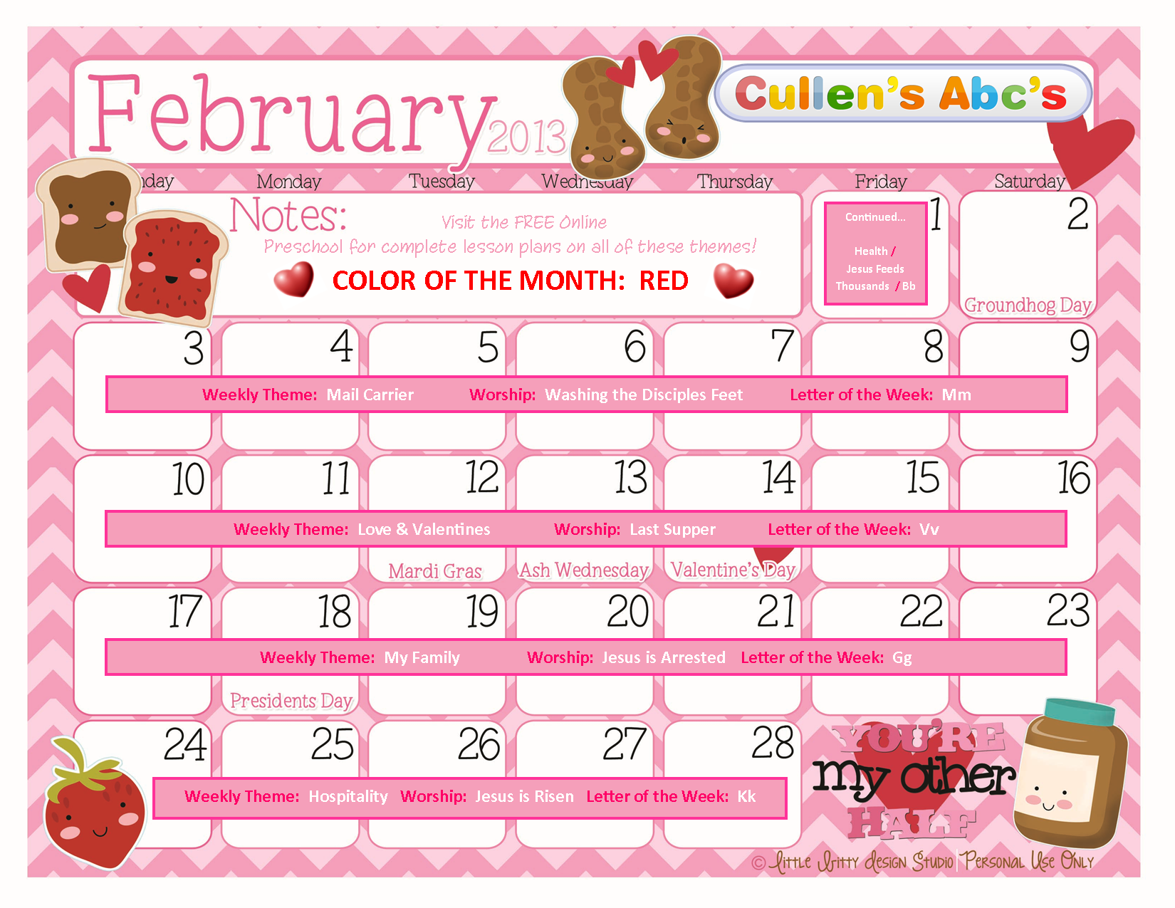 Preschool calendars online preschool and children 39 s for Preschool crafts for february