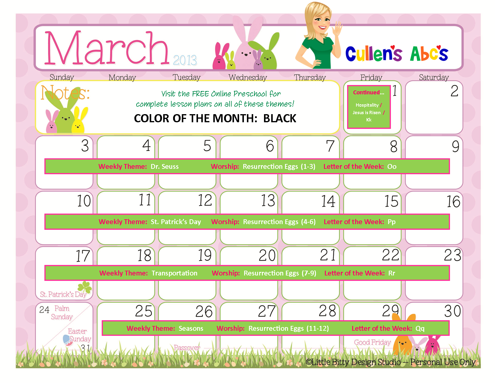March 2013 Free Online Preschool Calendar | Christian Children ...