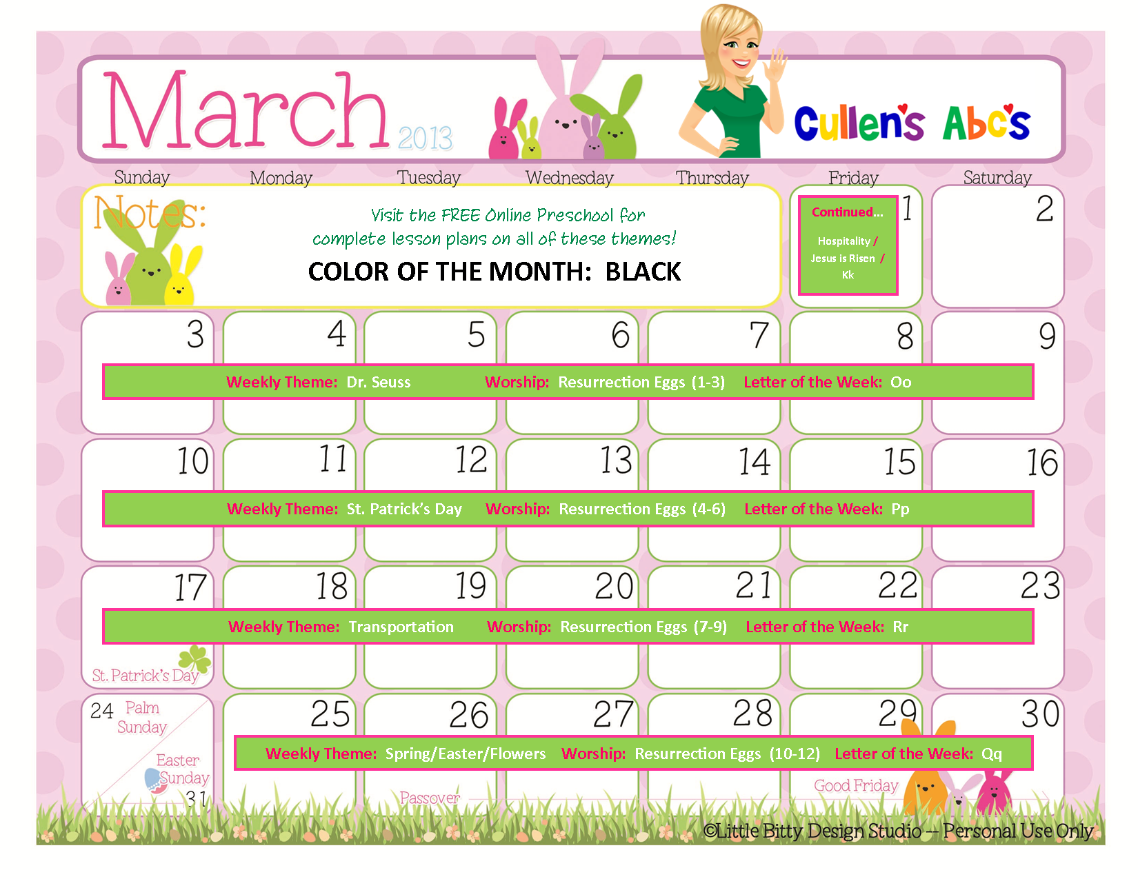 Calendar Ideas For March : Preschool calendars online and children s