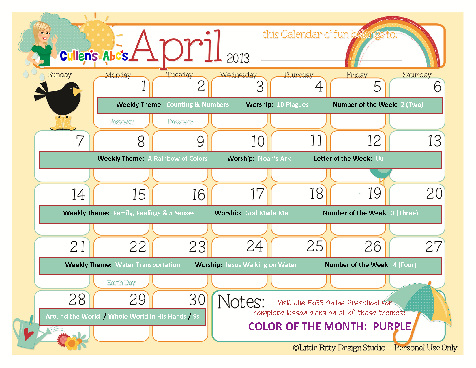 Kindergarten Calendar Of Activities : Preschool calendars online and children s