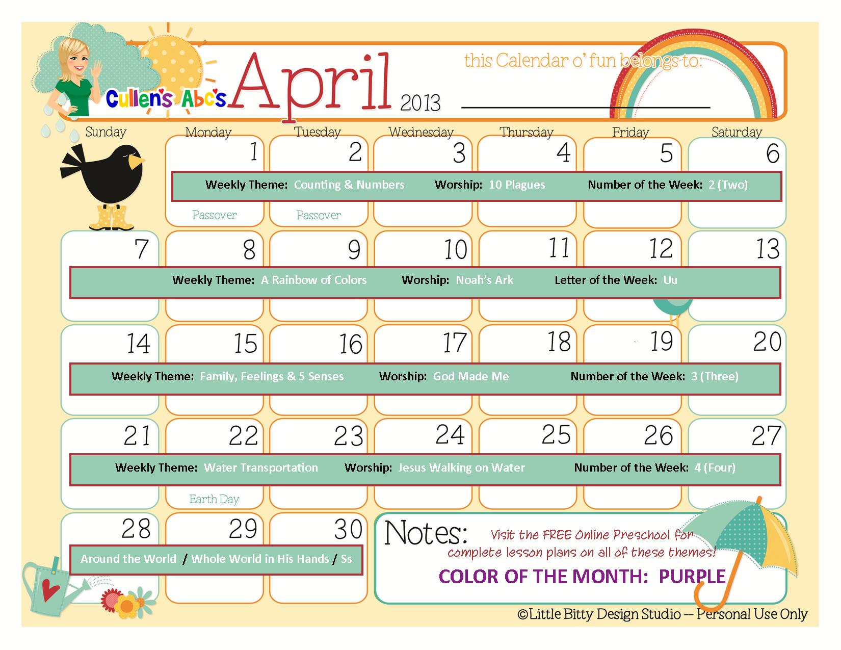Calendar Ideas For Nursery : Preschool calendars online and children s
