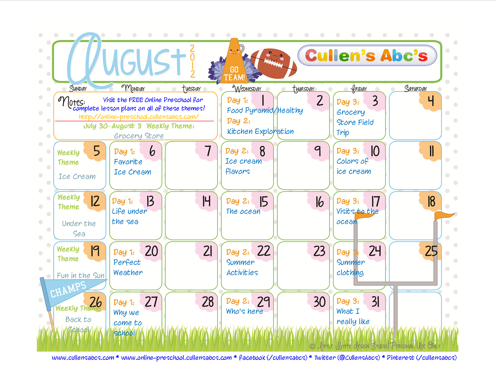 Calendar Preschool Theme : Preschool calendars online and children s