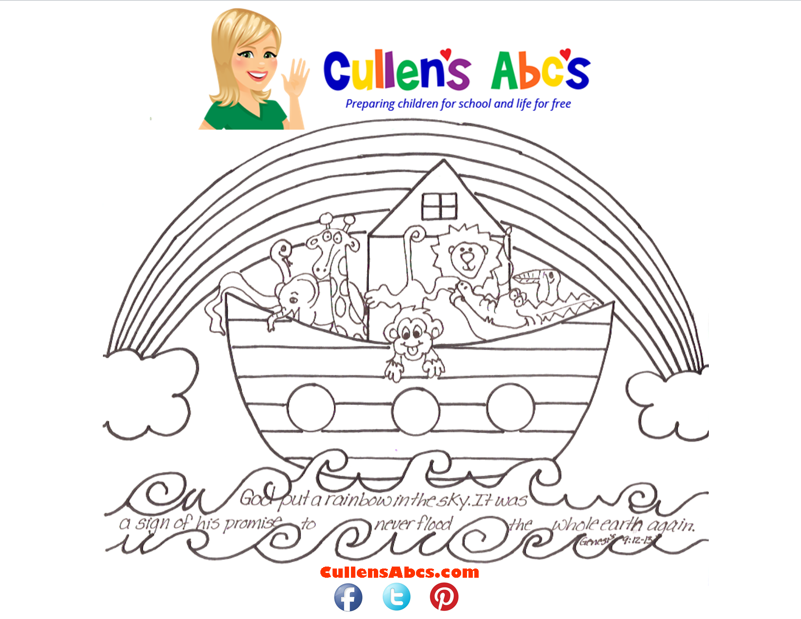 Bible Key Point Coloring Page Noahs Ark