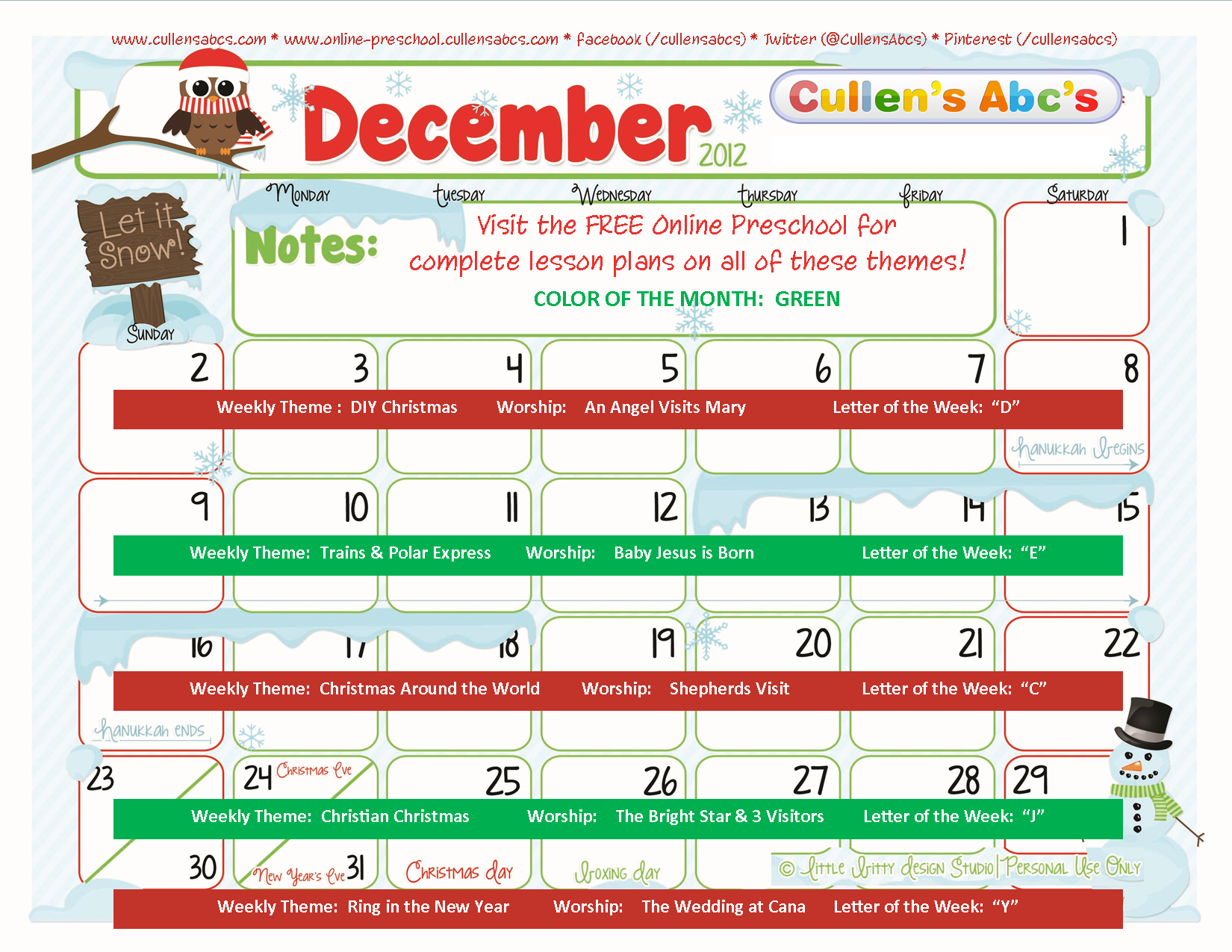 December Calendar Art Kindergarten : Preschool calendars online and children s