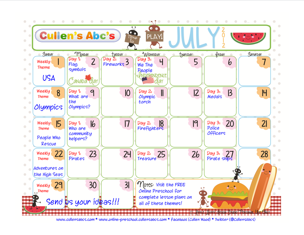 July Calendar Ideas : Preschool calendars christian children activities