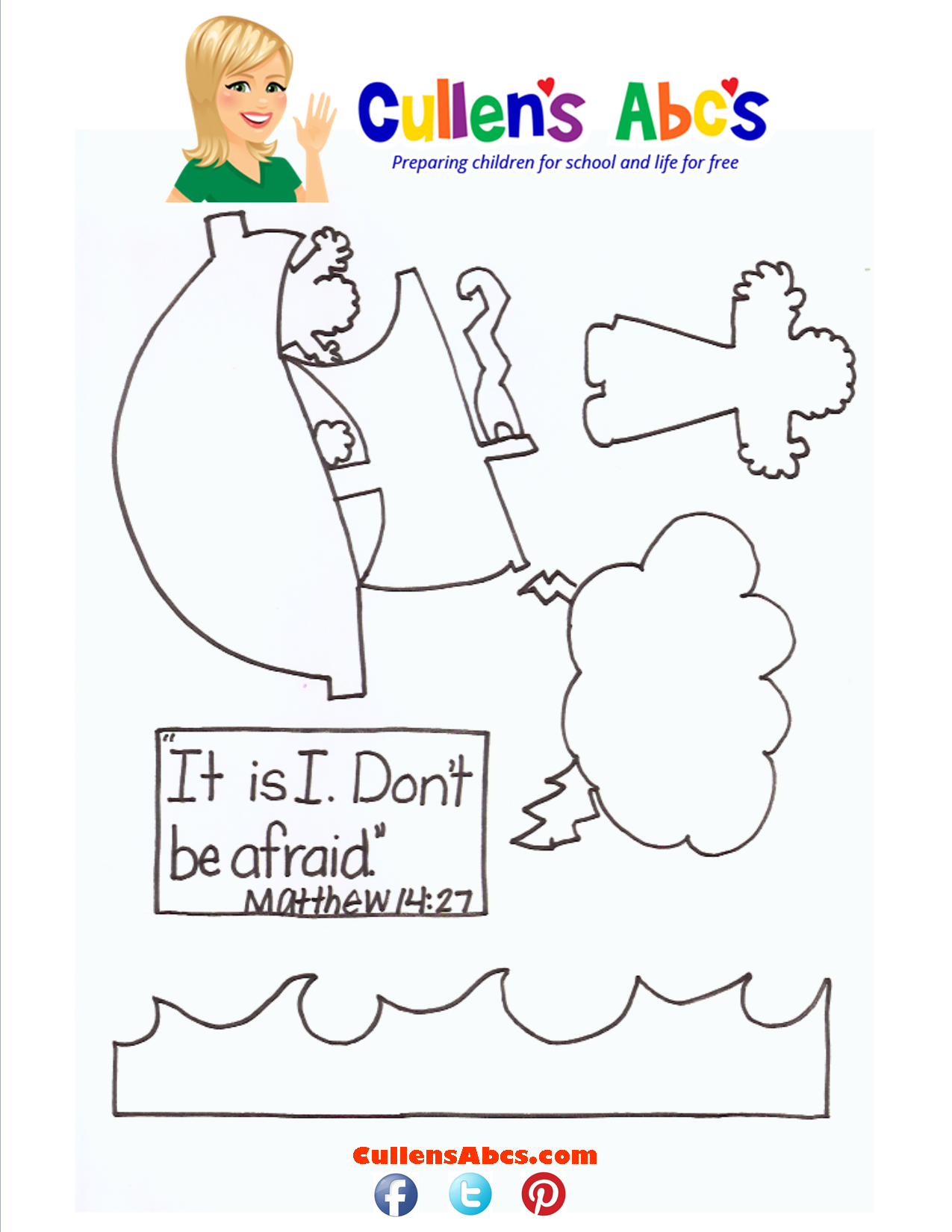 Bible Key Point Coloring Page - Matthew 14-27