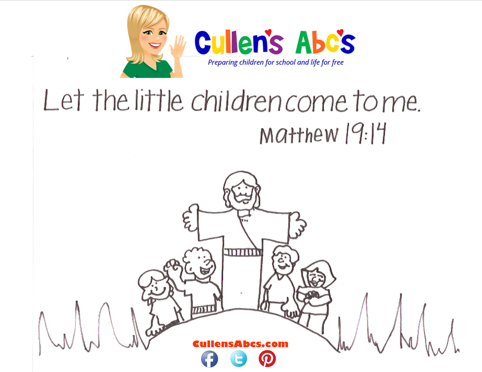 Bible memory verse coloring page the the little children come to me