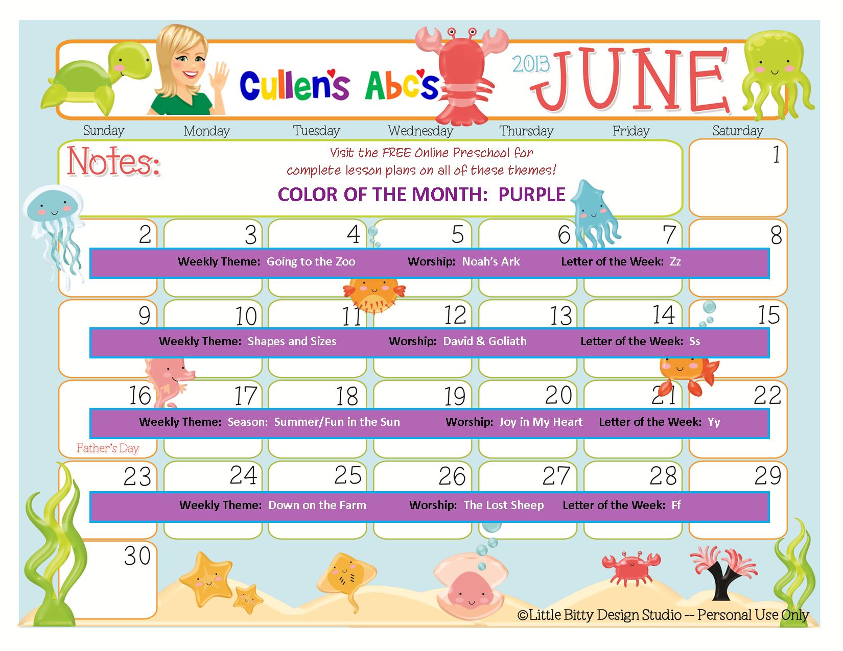June Calendar Numbers For Preschool : Preschool calendars online and children s