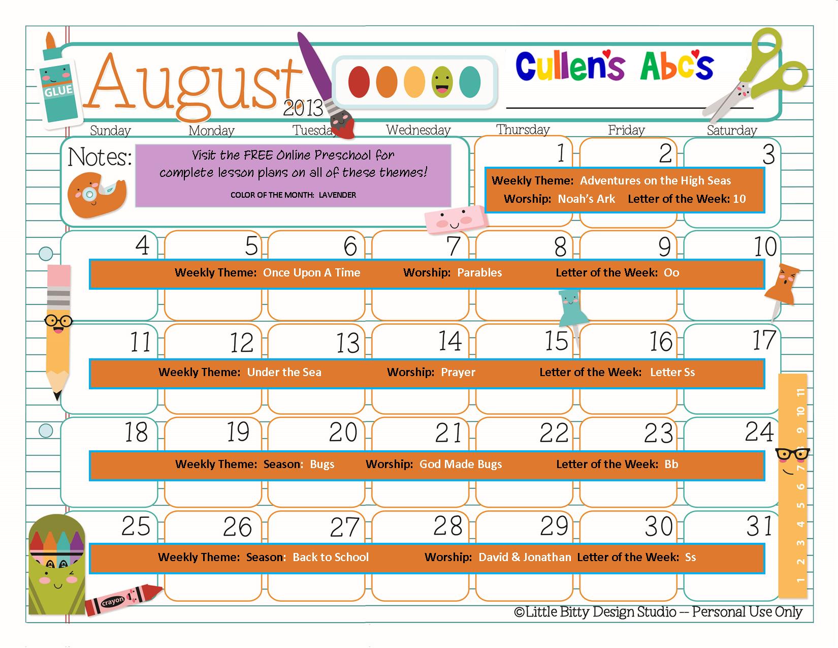 Preschool Calendars | Online Preschool and Children's Videos by Cullen ...