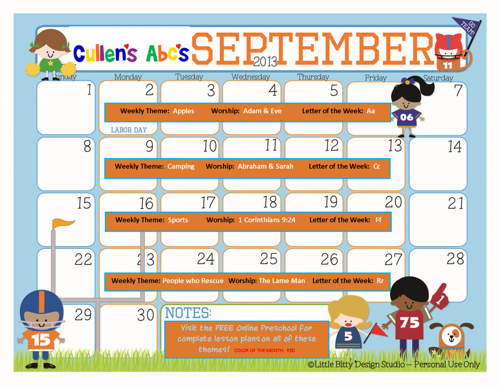 Calendar Monthly Ideas : Preschool calendars christian children activities