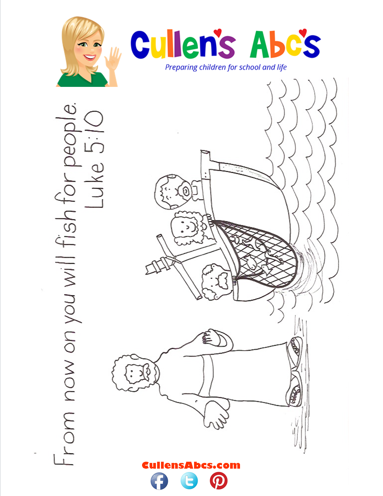 Bible Key Point Coloring Page-From Now on you will fish for people