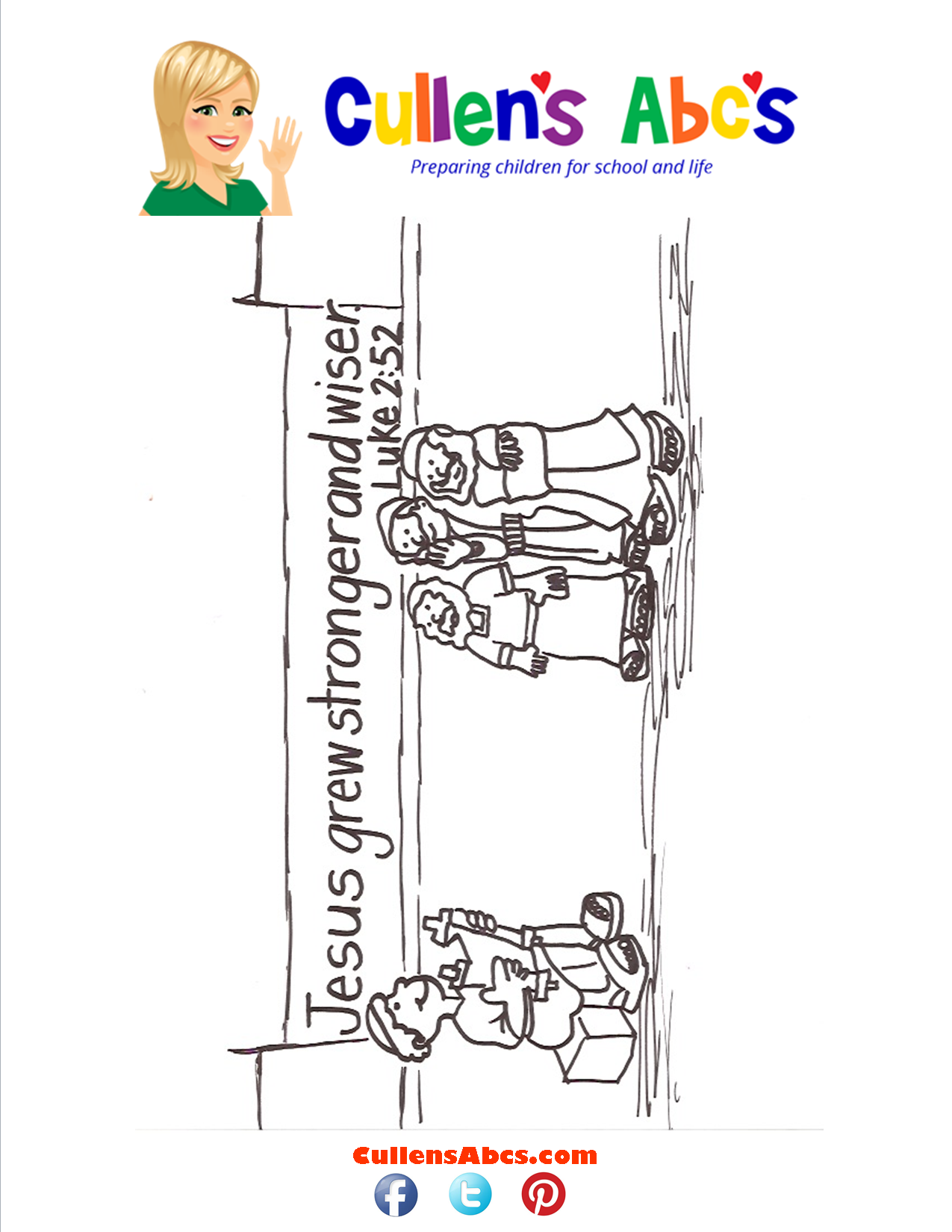 Bible Key Point Coloring Page-Jesus Grew Stronger & Wiser