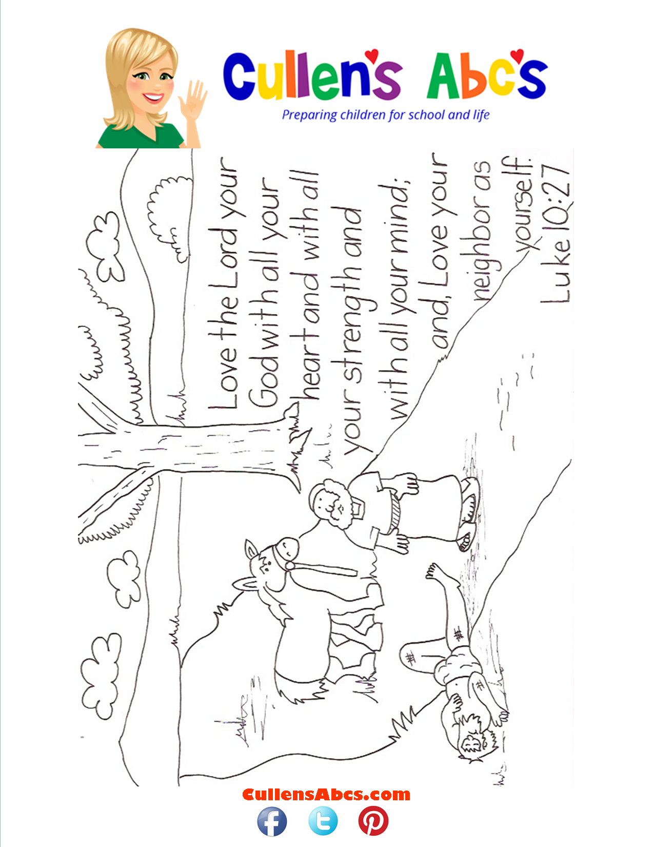 Bible Key Point Coloring Page-Love the Lord With All Your Heart...