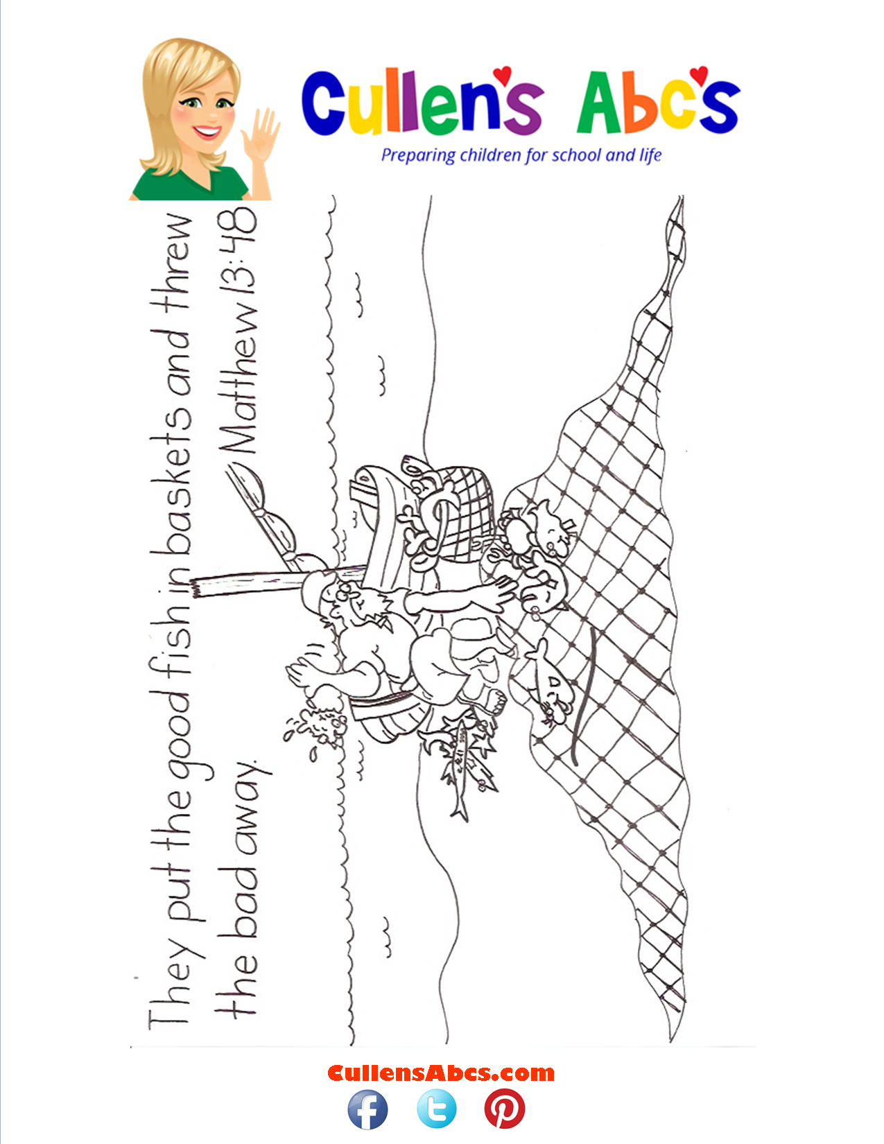 Bible Key Point Coloring Page-They put the good fish in baskets...