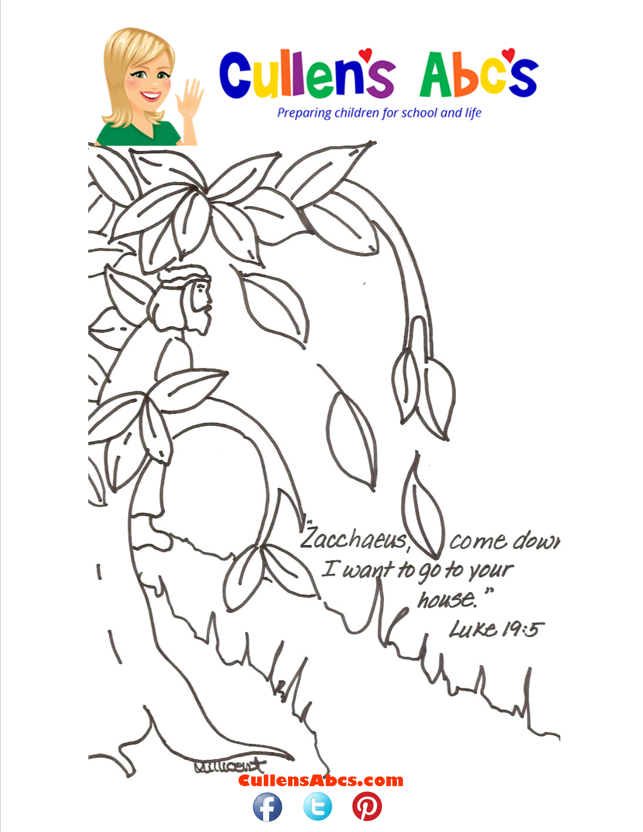 Bible Key Point Coloring Page-Zacchaeus-Luke 19 5