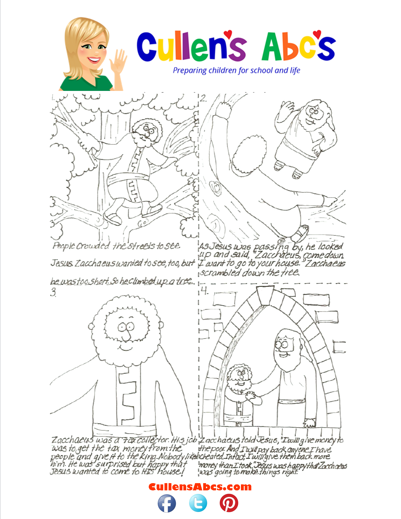 Bible Key Point Coloring Page-Zacchaeus-Sequencing