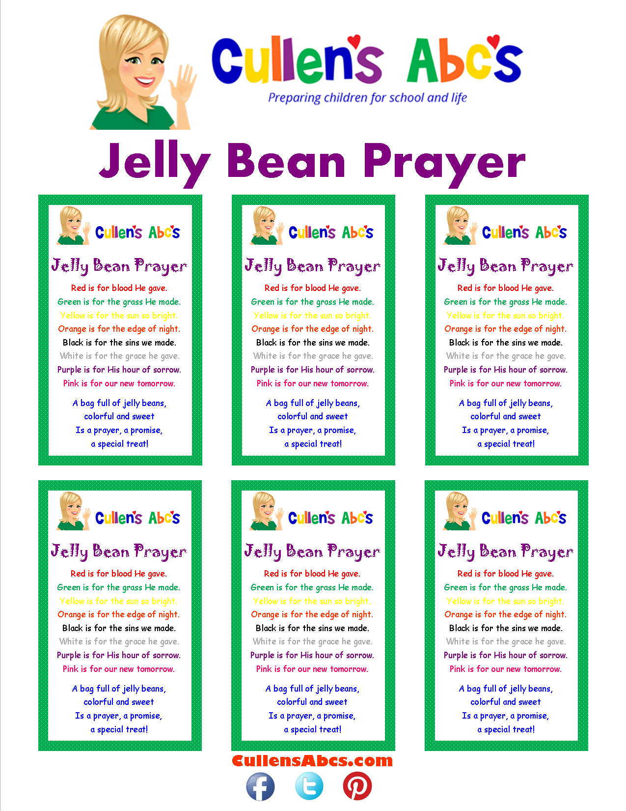 graphic relating to Jelly Bean Prayer Printable named Jelly Bean Prayer On-line Preschool and Childrens Flicks