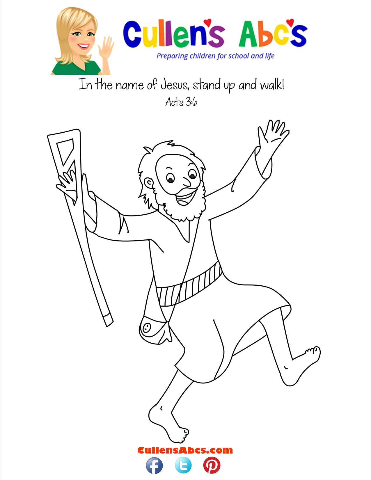 Bible Key Point Coloring Page-The Lame Man