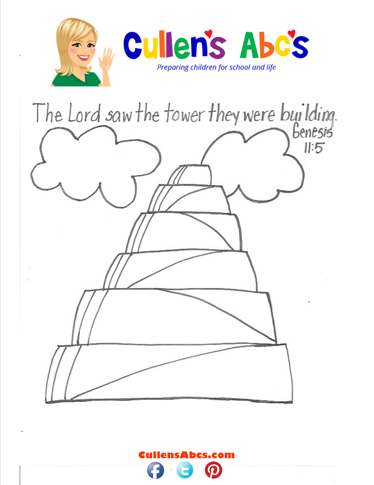 Bible Memory Verse Coloring Page The Tall Tower