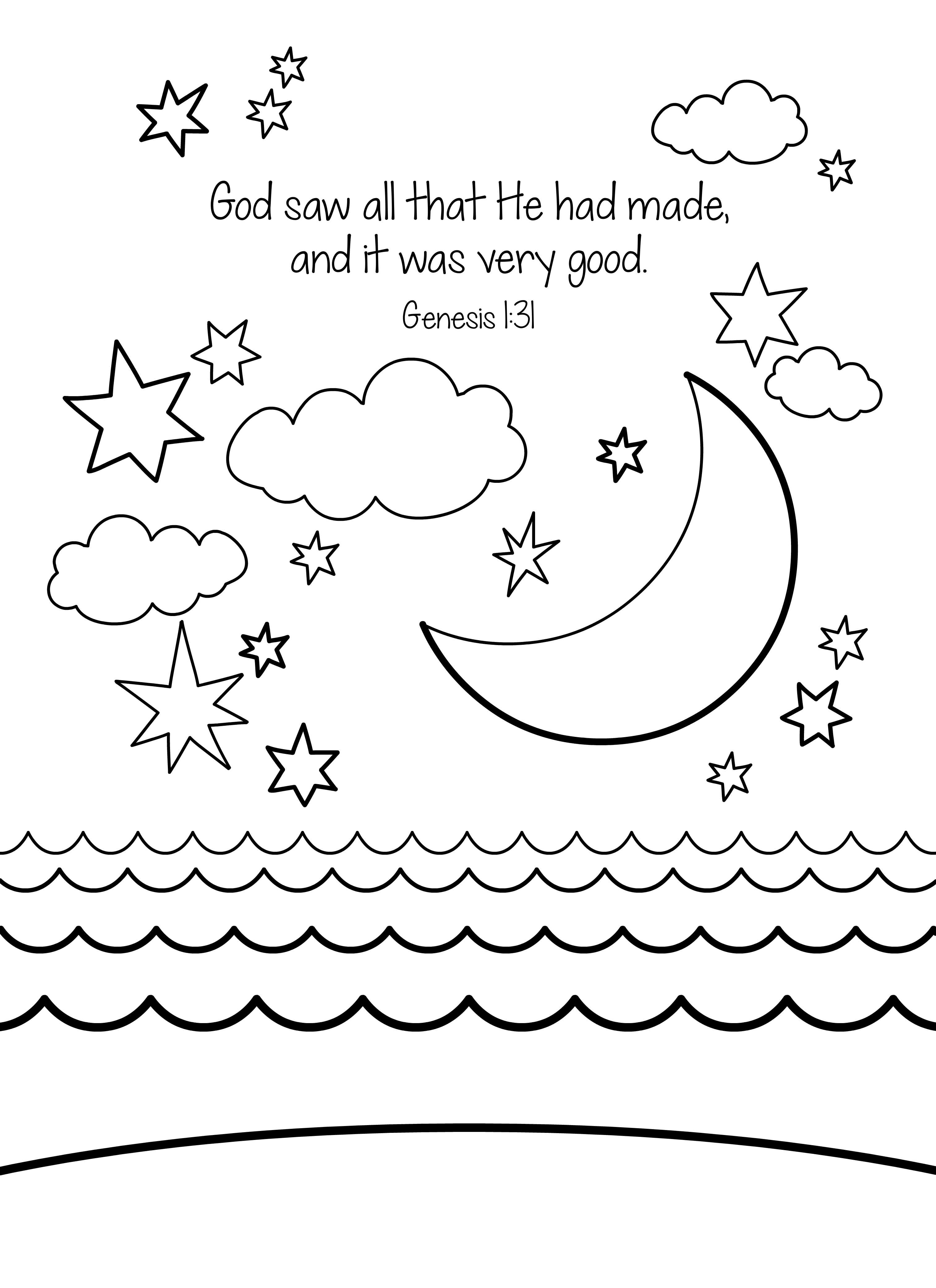 Creation Coloring Pages For Kindergarten