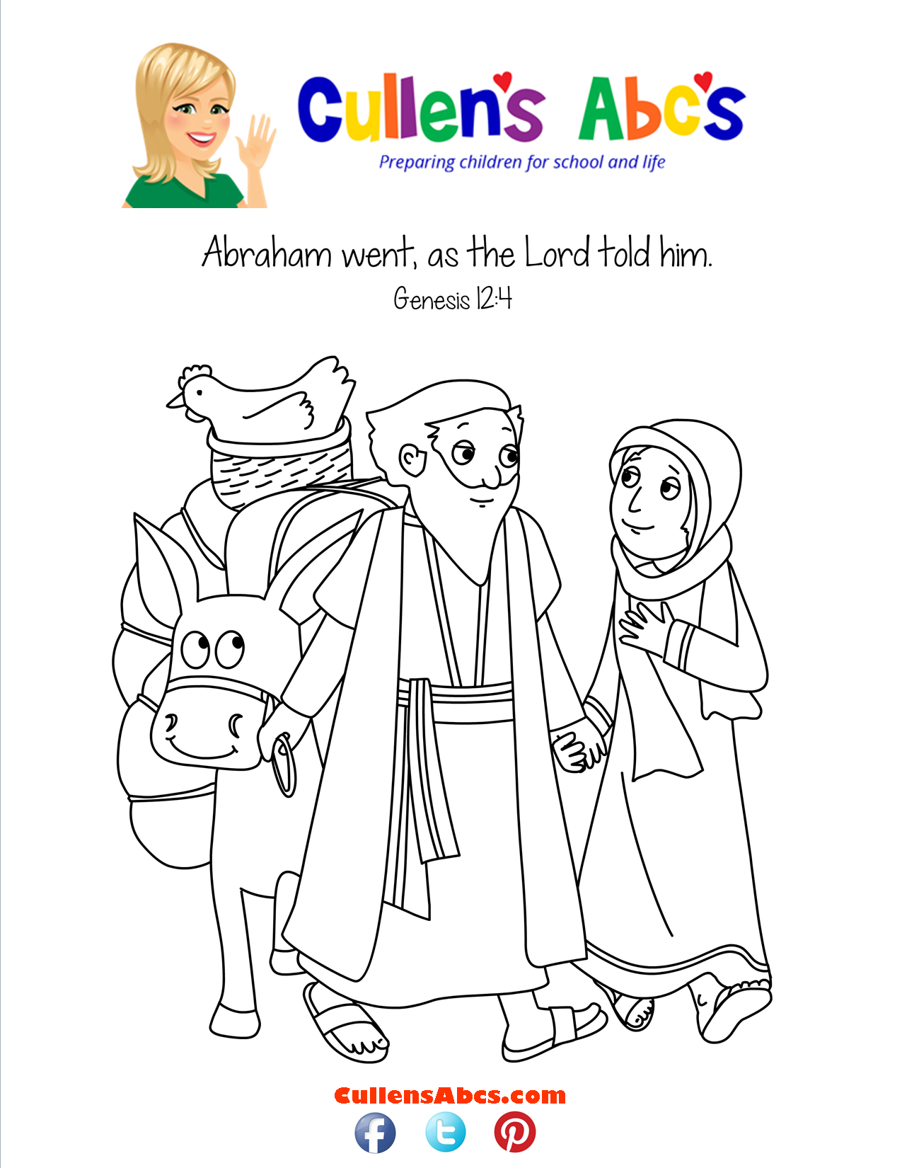 bible memory verse coloring page a new home abraham u0026 sarah