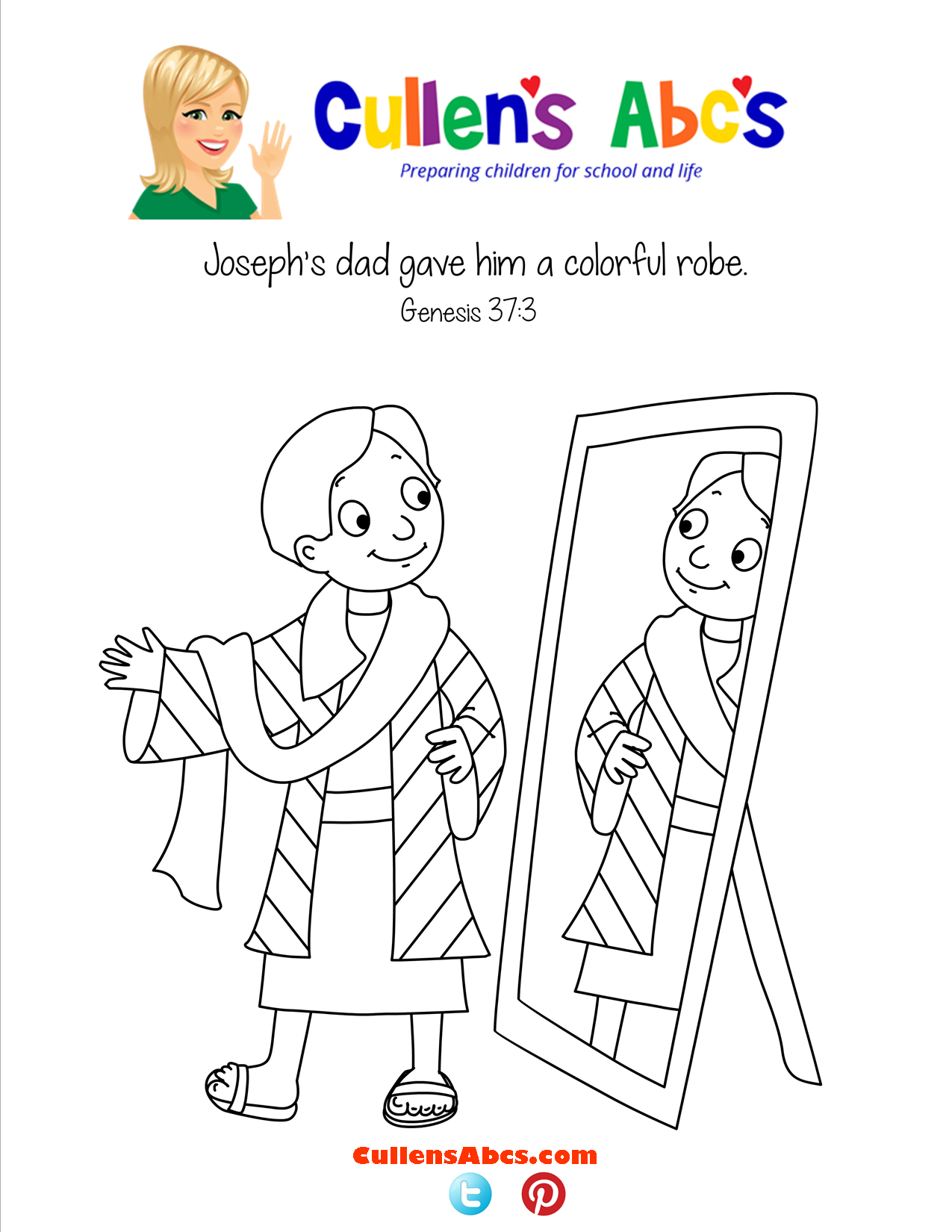 Bible Memory Verse Coloring Page Joseph's Colorful Robe