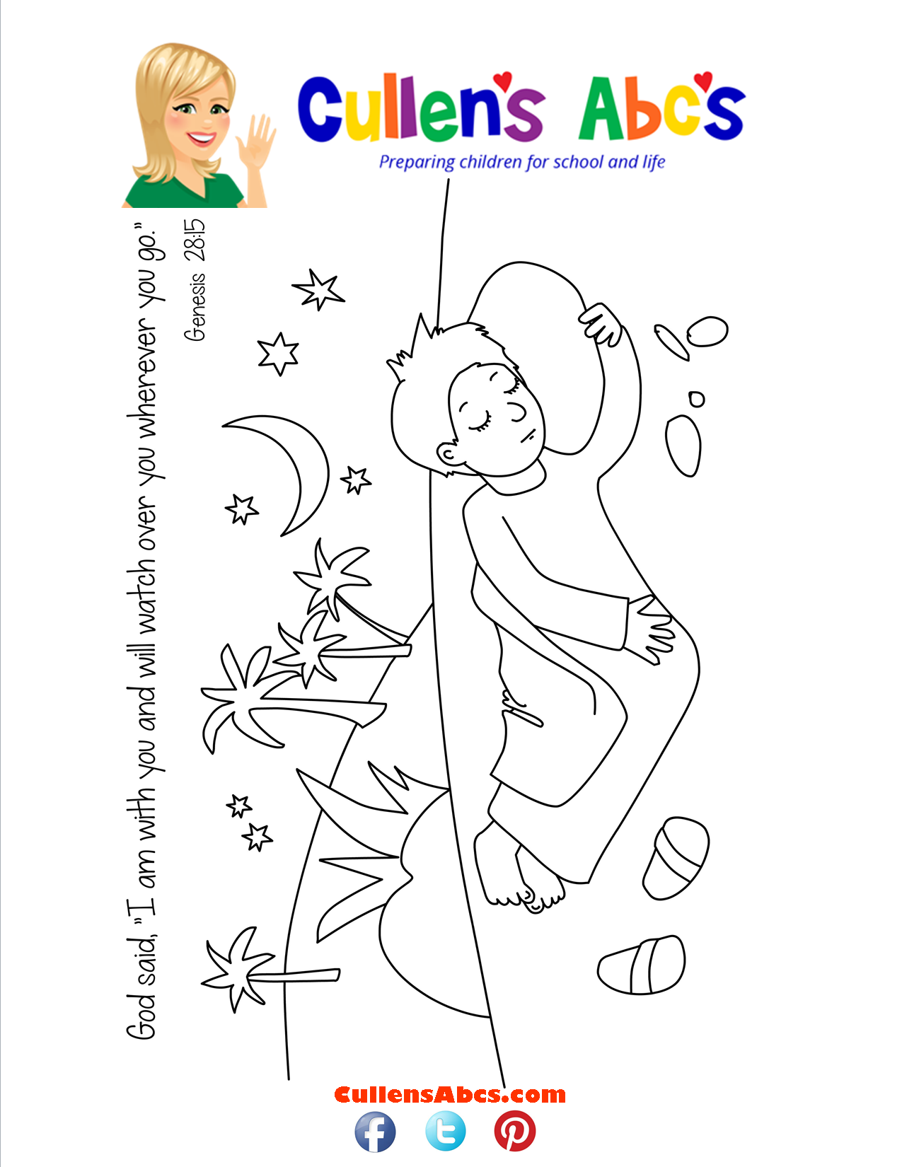Bible Key Point Coloring Page-Jacob's Dream