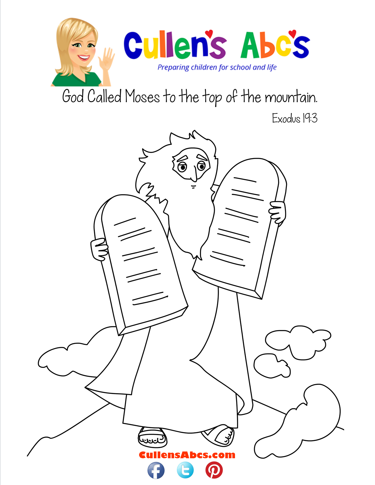 Bible Key Point Coloring Page-The 10 Commandments