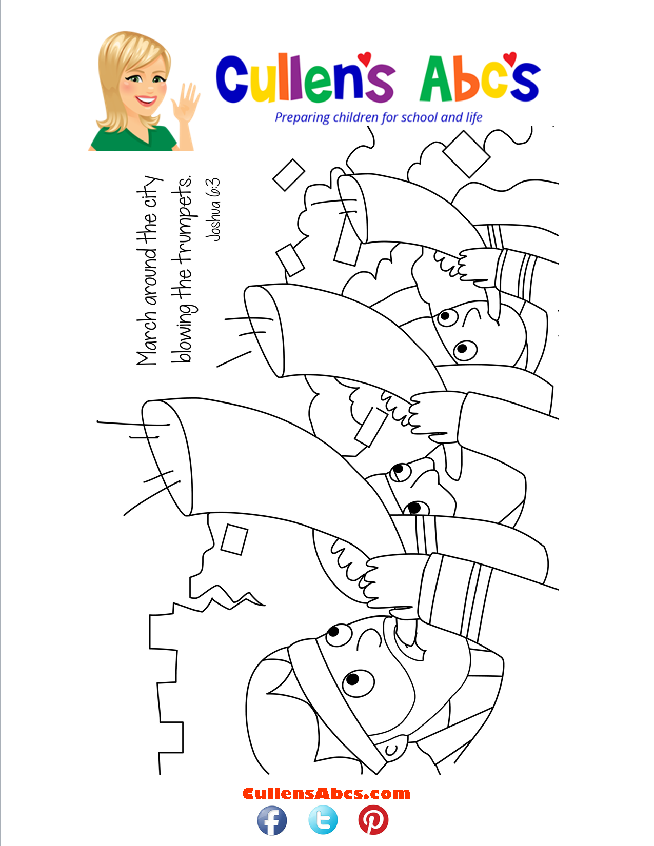 Bible Key Point Coloring Page-The Battle of Jericho