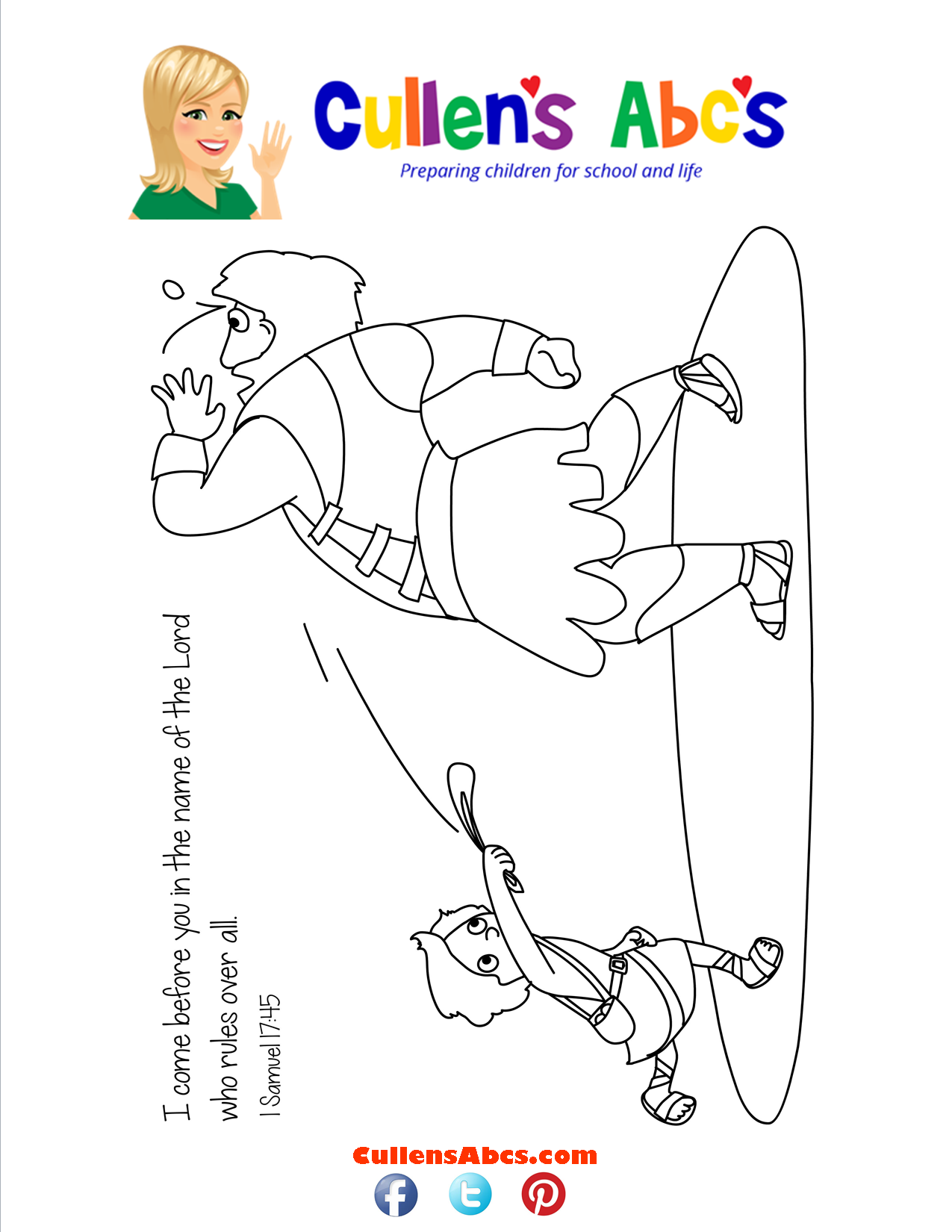 Bible Memory Verse Coloring Page | David and Goliath | Christian ...
