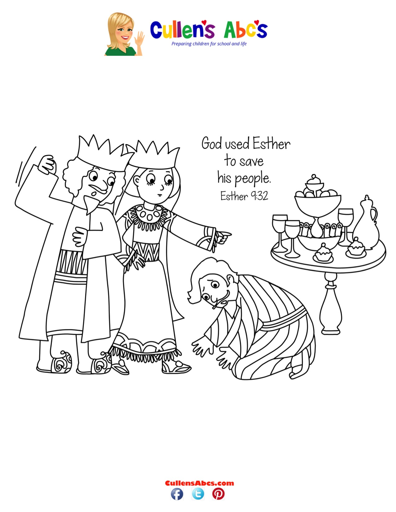 Bible Key Point Coloring Page | The Brave Queen | Online Preschool ...