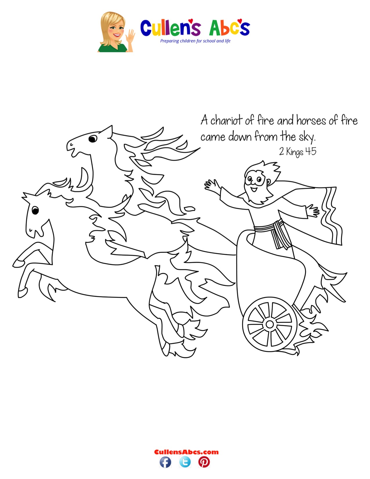 Chariot of Fire Coloring Sheet