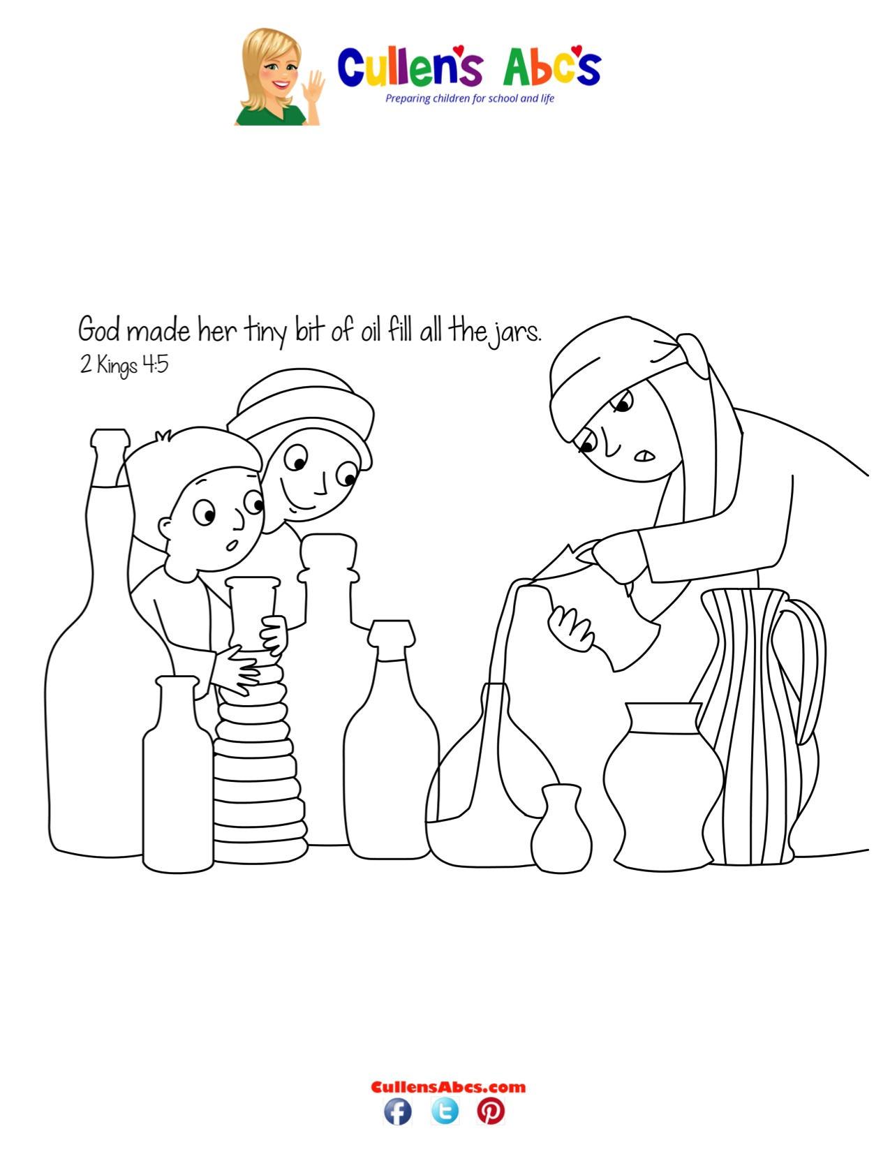 Bible Key Point Coloring Page | Jars of Oil | Online Preschool and ...
