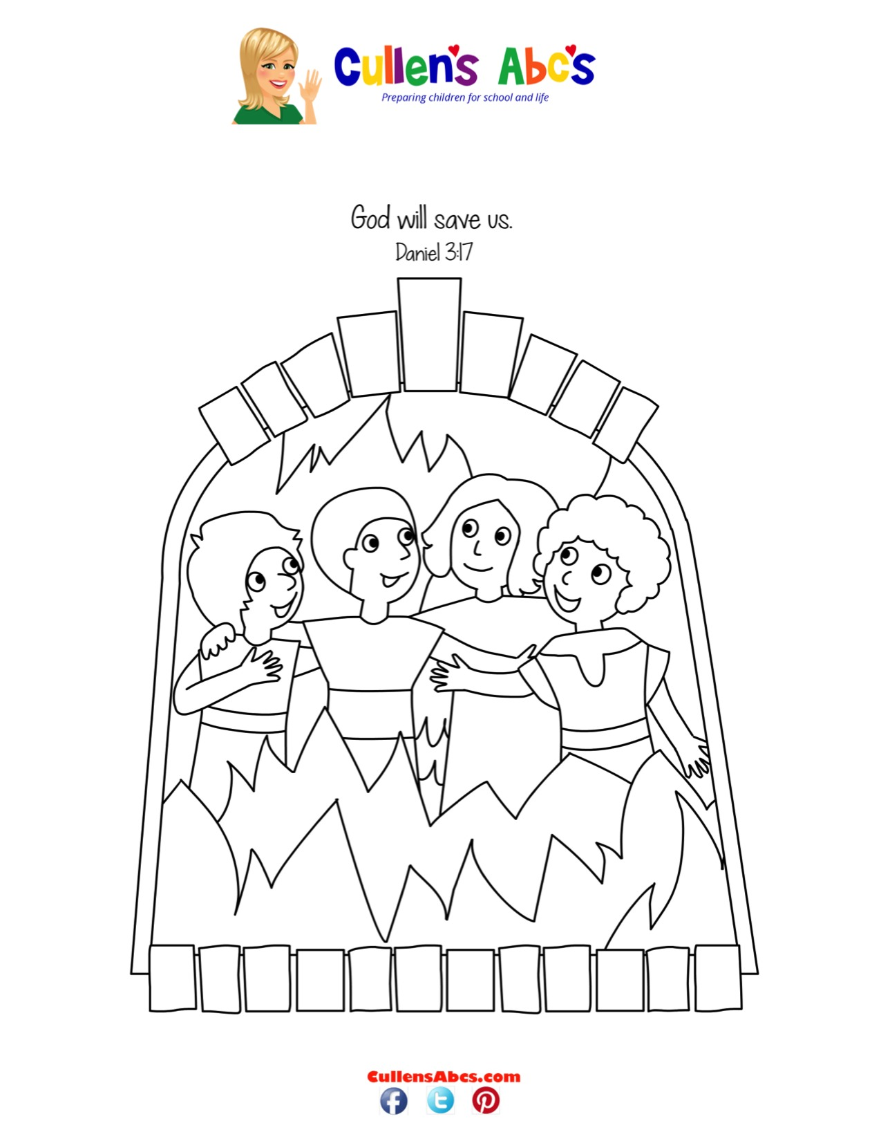 Shadrach, Meshach and Abednego Coloring Sheet