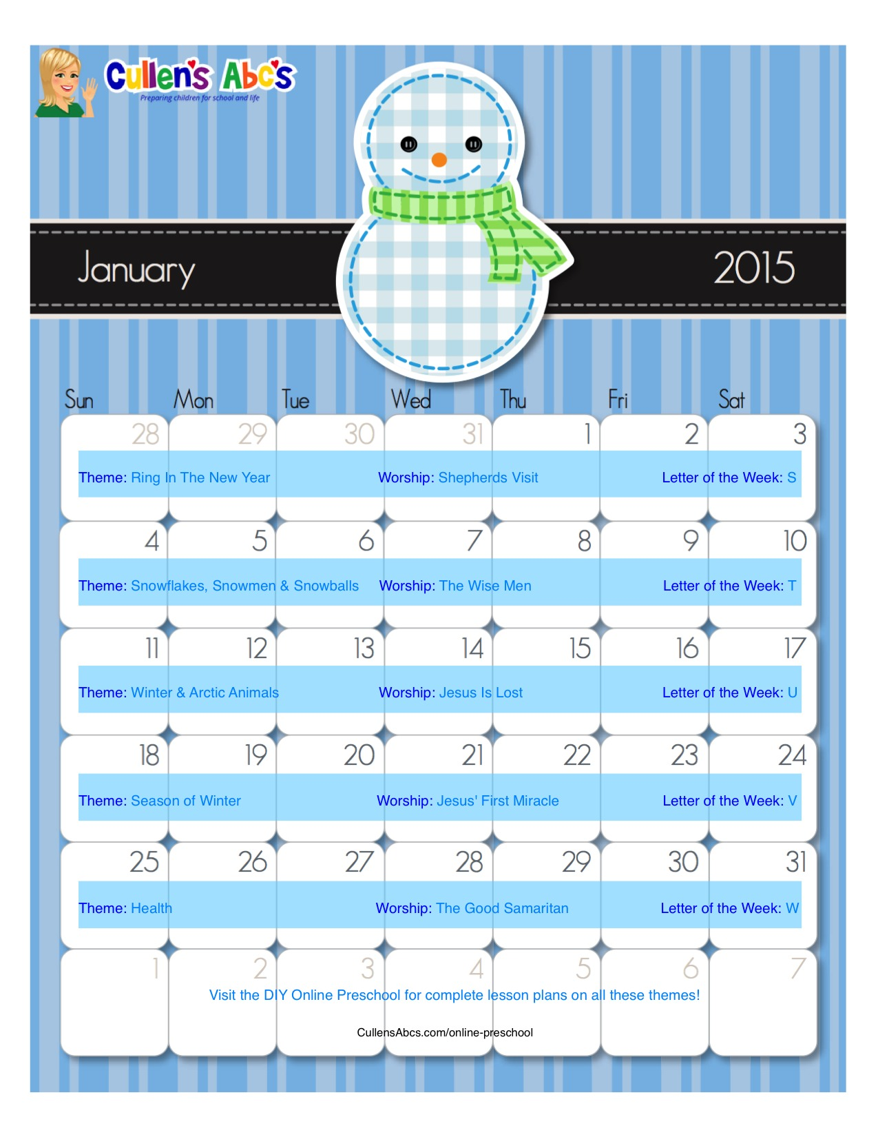 January Online Preschool Calendar 2015