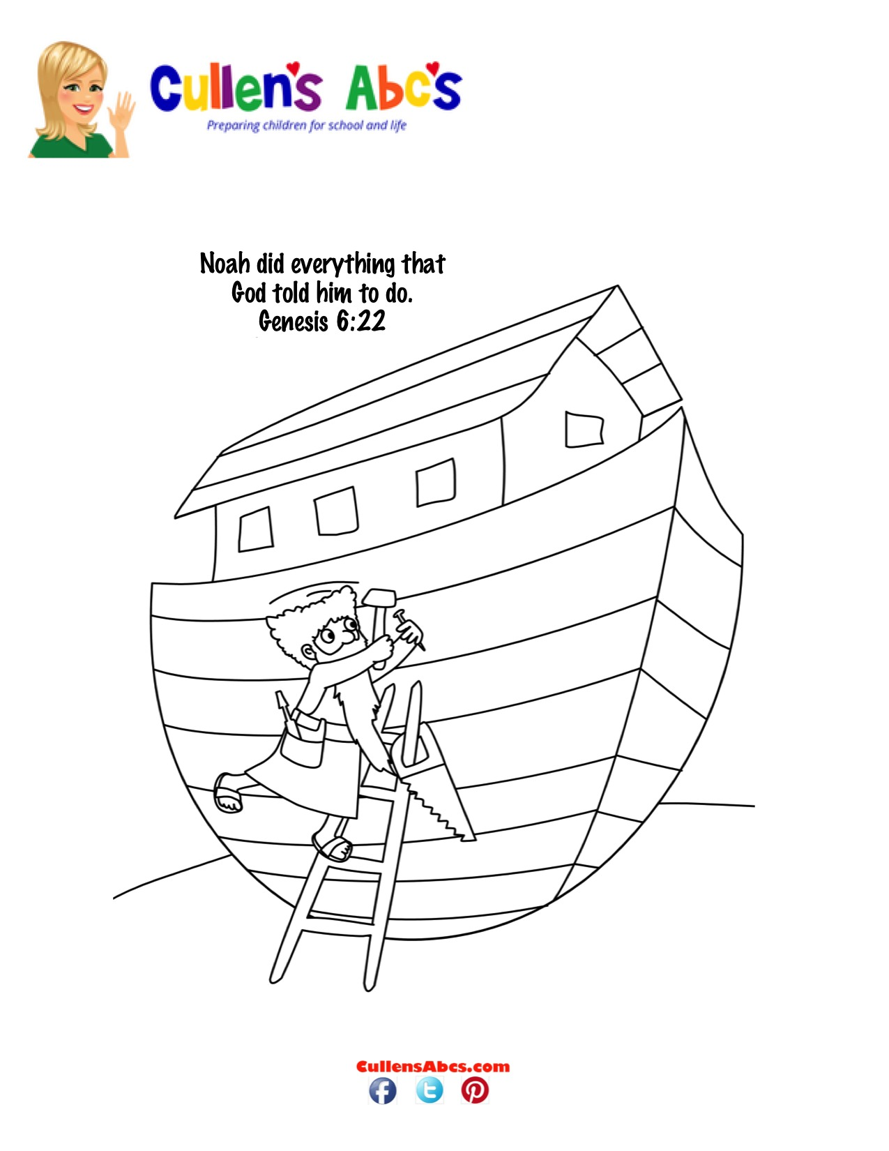 Bible Key Point Coloring Page Noah Builds The