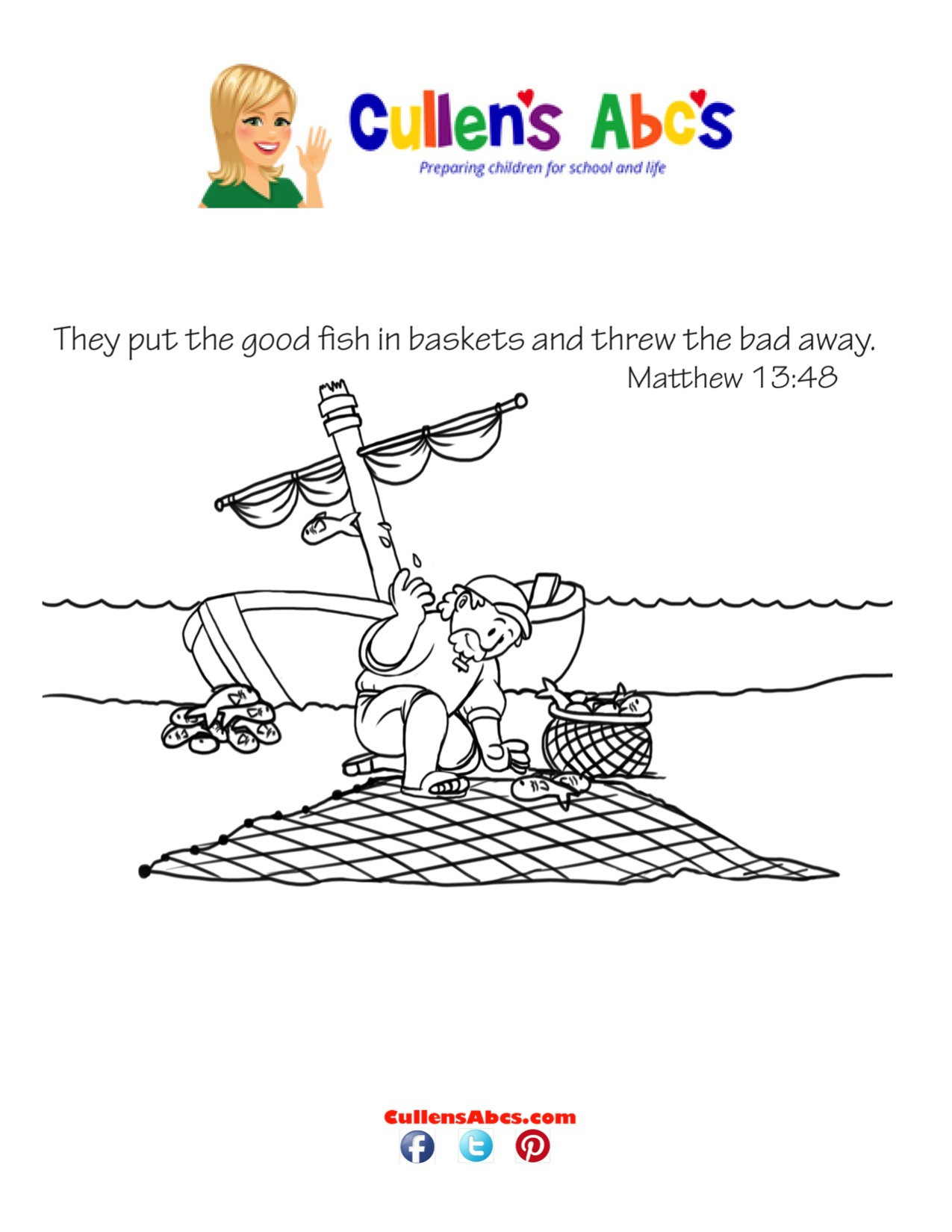Bible Key Point Coloring Page | A Fisherman's Net
