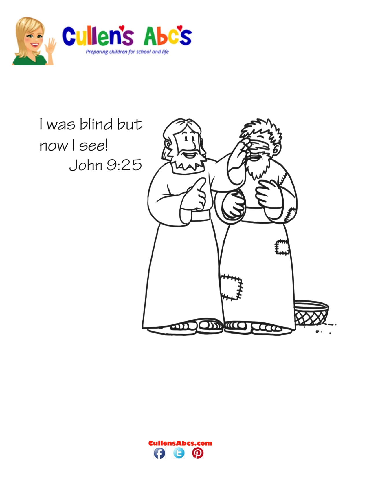 Bible Key Point Coloring Page Jesus Heals A Blind Man Online