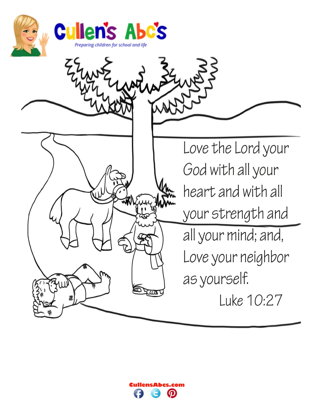 Bible-Key-Point-Coloring-Page|The-Good-Samaritan