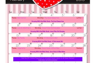February Online Preschool Calendar 2015
